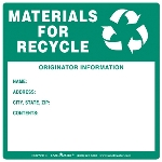Materials for Recycle Label with Originator Info, Vinyl