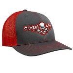 Diesel Life Snap Back Hat, Charcoal/Red with Red