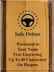 Safe Driving Award Plaque, Alder Wood