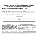 Annual Vehicle Inspection Label Self - Laminating
