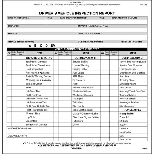 new jersey bus driver vehicle inspection report book vehicle Federal Annual Dot Inspection Forms new jersey bus driver vehicle inspection report book