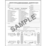 Detailed Drivers Vehicle Inspection Reports, Illustrations, Snap Out, Personalized