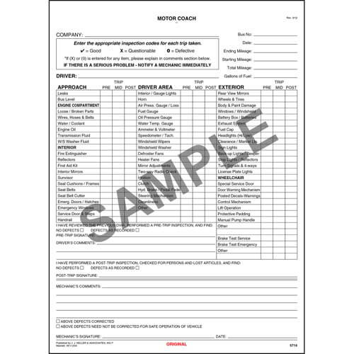 New York Motor Coach Drivers Vehicle Inspection Report Large Book Format
