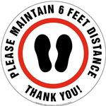 Please Maintain 6 Feet Distance Thank You Floor Sign