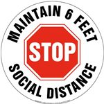 STOP Maintain 6 Feet Social Distance Floor Sign