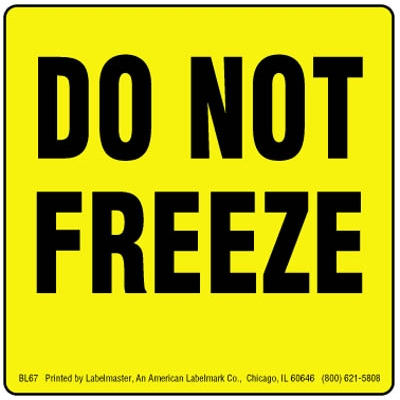 Do Not Freeze Label