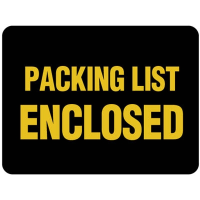 Packing List Enclosed Label