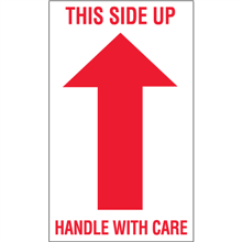 "3"" x 5"" - This Side Up - Handle With Care Arrow Labels"
