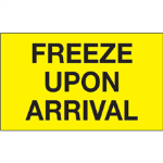 "3"" x 5"" Freeze Upon Arrival Fluorescent Yellow Labels"