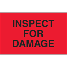 "1 1/4"" x 2"" Inspect For Damage Fluorescent Red Labels"
