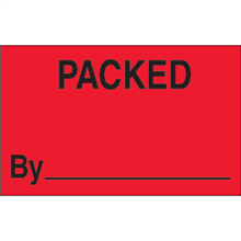 "1 1/4"" x 2"" Packed By Fluorescent Red Labels"