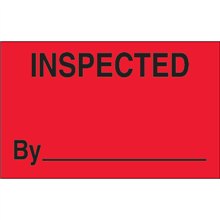 "1 1/4"" x 2"" Inspected Fluorescent Red Labels"