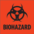 "2"" x 2"" Biohazard Fluorescent Red Labels"