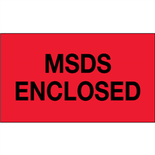 "3"" x 5"" MSDS Enclosed Fluorescent Red Labels"