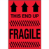 "2"" x 3"" This End Up - Fragile Fluorescent Red Labels"