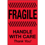 "2"" x 3"" Fragile - Handle With Care Fluorescent Red Labels"