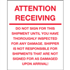"8"" x 10"" Attention Receiving - Do Not Sign For This Shipment Labels"