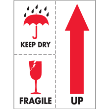 "3"" x 4"" Keep Dry Fragile Labels"