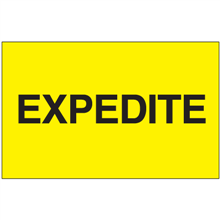 "3"" x 5"" Expedite Fluorescent Yellow Labels"