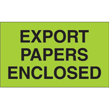 "3"" x 5"" Export Papers Enclosed Fluorescent Green Labels"