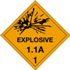 "4"" x 4"" Explosive 1.1A - 1 Shipping Labels"