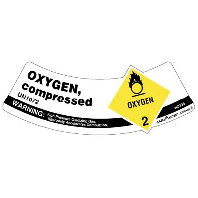 UN 1072 Oxygen Industrial Shoulder Label