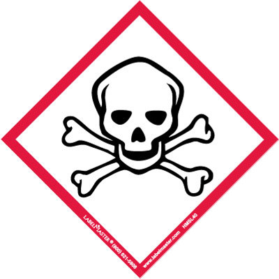 Hydrogen Sulfide Warning Label - Red