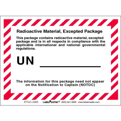 radioactive material excepted package label air labels l335r