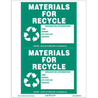 Materials for Recycle Label - Blank Laser Imprintable Vinyl