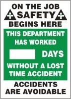On the Job Safety, This Department Has Worked, Safety Scoreboard