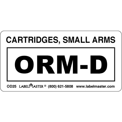 Cartridges Small Arms ORM-D Label, Regulated Labels, OD25