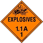 Explosive Class 1.1 A Placard, Tagboard