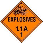 Explosive Class 1.1 A Placard