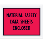 "7"" x 5 1/2"" Red Material Safety Data Sheets Enclosed Envelopes"