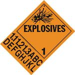 Explosives 1 Placard With Tabs, Remobale Vinyl