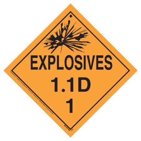 Explosives 1.1 D Placard, Tagboard