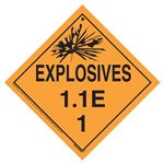 Explosives 1.1 E Placard, Tagboard