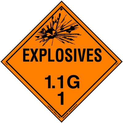 Explosive Class 1.1 G Placard, Tagboard