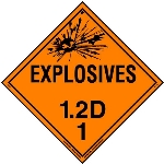 Explosive Class 1.2 D Placard, Tagboard