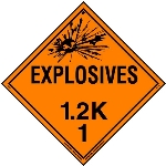 Explosive Class 1.2 K Placard, Tagboard