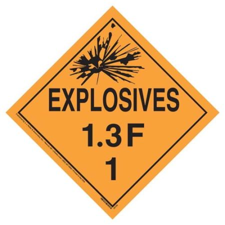 Explosives 1.3 F Placard, Tagboard