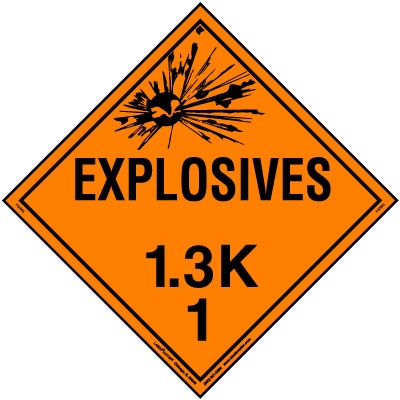 Explosive Class 1.3 K Placard, Tagboard