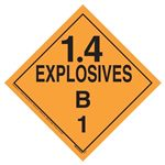 Explosives 1.4 B Placard, Tagboard