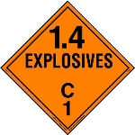 Explosive Class 1.4 C Placard, Tagboard