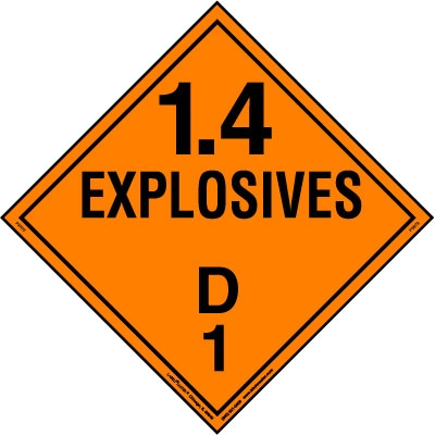 Explosive Class 1.4 D Placard, Tagboard