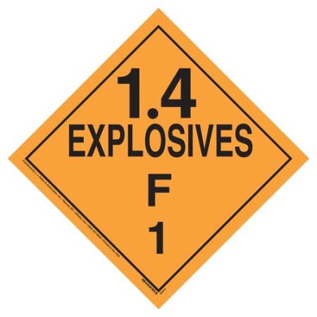 Explosives 1.4 F Placard, Tagboard