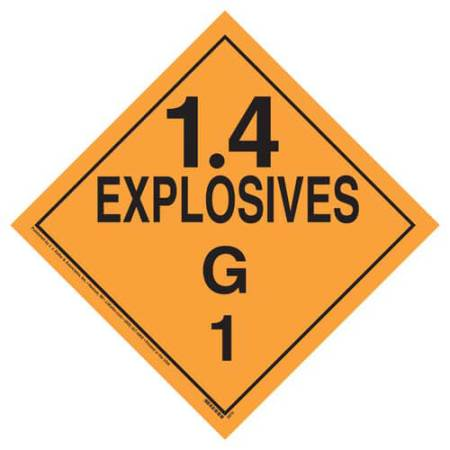 Explosives 1.4 G Placard, Tagboard
