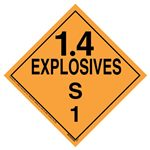 Explosives 1.4 S Placard, Tagboard