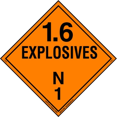 Explosive Class 1.6 N Placard, Tagboard