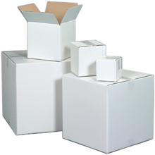 "12"" x 12"" x 4"" White Corrugated Boxes"